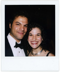 dan and orli (flybutter) Tags: nyc film polaroid financialdistrict wintergarden benefit slr680 afterparty bflat 779 flybutter miracleatgroundzero sohosynagogue beyondblacktie