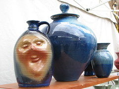 Unique Pottery for Sale at Shad Fest (photonooner) Tags: blue face newjersey sale shelf pottery jars lambertville urns shadfestival