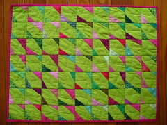 butterflies in the garden (the little red hen -) Tags: pink green doll quilt needlework handmade sewing swap patchwork gwen marston liberated eggmoney gwenmarston dqs2