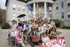 The Miss Rockaway Armada on parade in Muscatine, IA (Sucka Pants) Tags: mississippiriver raft mra forsite missrockaway missrockawayarmada