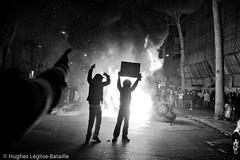 (Hughes Lglise-Bataille) Tags: paris france topf25 car silhouette fire israel riot topf50 palestine protest january voiture demonstration burning violence janvier 2009 feu manif manifestation gaza hamas brule