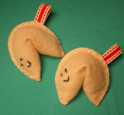 Handmade Felt Fortune Cookies Set with Happy Faces