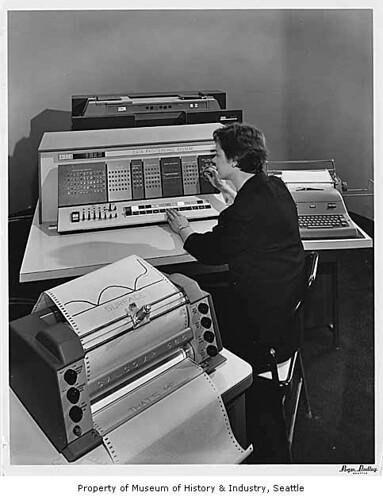 IBM 1620 data processing machine on display, Seattle World's Fair, 1962