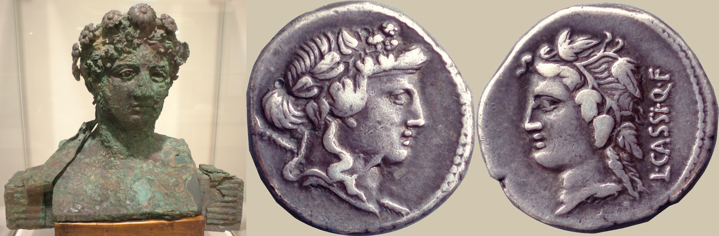 386/1 coin of Lucius Cassius with Bacchus and Libera 78BC, with terminal bust of Bacchus from a vineyard estate in Boscoreale near Pompeii