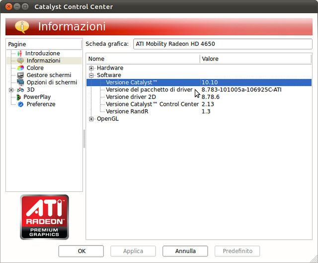 Figura 8 - Driver ATI Catalist 10.10 installati ed in in uso sul vostro sistema;