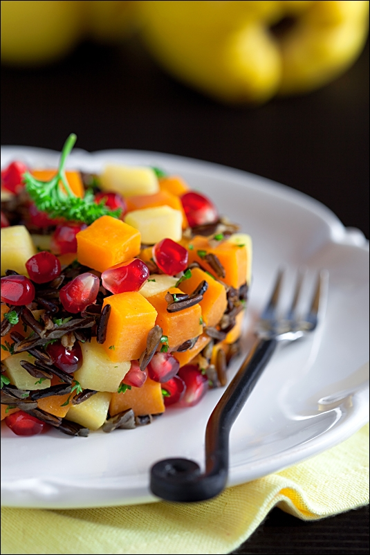Pumpkin, quince, wild rice and pomegranate Salad