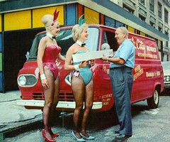 1965 Ford Falcon Econoline Van With Playboy Bunnies (coconv) Tags: pictures auto old girls woman bunny bunnies art classic cars ford girl car illustration club vintage magazine advertising cards photo costume flyer women automobile pretty post image photos antique album postcard ad picture images advertisement vehicles photographs card photograph postcards falcon delivery vehicle playboy autos collectible van collectors brochure automobiles 65 1965 dealer prestige econoline worldcars