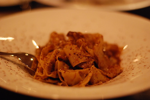 Hand Cut Pappardelle with Duck Ragu, Shaved Chocolate & Orange