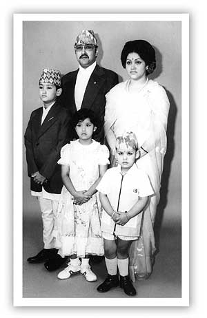 King Birendra and Queen Aishwarya pose with Crown Prince Dipendra, Princess Shruti and Prince Nirajan by Dwarika Das Shrestha