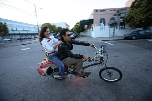 Passenger and rider on the Soul Cycle Convertible Chopper
