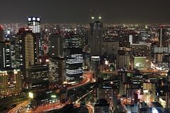 Buildings and Hanshin Express Way (Apricot Cafe) Tags: japan osaka canonef1635mmf28liiusm nightscene umedaskybuilding shinumedacity rooftopcorridor