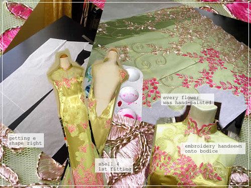 green & fuschia embroidery cheongsam
