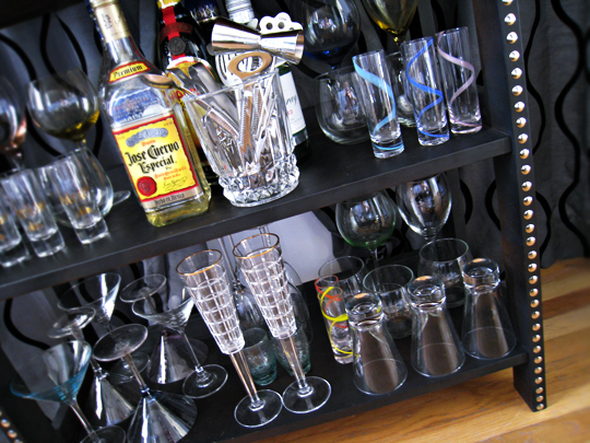 DIY studded home mini bar+booze display+liquor+wine glasses+champagne glasses+shot glasses