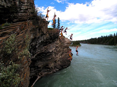 Dual Jumping Sequence-adjusted (I voted for Kodos) Tags: summer cliff cold rock river jump jumping rocks brothers cliffs rapids alberta bow summertime sequence seebe cliffjumping
