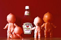 Be-Heinz (boopsie.daisy) Tags: red silly cute four funny heart ketchup 4 bald butts cheeks condiment bums catsup dimples backside heinz quirky behinds kooky kewpie brandname kewpies rumps abigfave