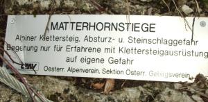Hinweis am Einstieg zur Matterhornstiege