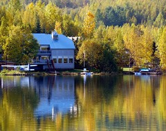 Home Sweet Home (Trish Mayo) Tags: autumn trees vacation house lake reflection fall alaska mirrorlake seaplane abigfave anawesomeshot diamondclassphotographer flickrdiamond