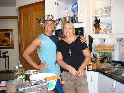 Me (with the sombrero - a  present from Janet) and Janet in the kitchen...