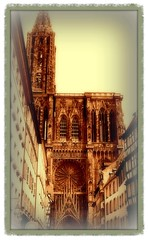 Strasbourg Cathedral's west facade, viewed from Rue Mercire (silwittmann) Tags: old france building tower church arquitetura sepia architecture religious europa torre cathedral gothic catedral strasbourg igreja alsace historical romanesque altstadt fachada oldcity picnik antigo alsacelorraine panasoniclumix westfacade cathdralenotredamedestrasbourg cathedralofourladyofstrasbourg liebfrauenmnsterzustrasburg