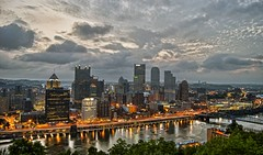 View of Pittsburgh at dawn in HDR (Dave DiCello) Tags: ohio beautiful photoshop vintage nikon day pittsburgh cityscape cloudy tripod wideangle rivers nikkor hdr highdynamicrange allegheny confluence heinzfield monongahela thepoint cs4 mellonarena civicarena steelcity photomatix beautifulcities pittsburghpenguins yinzer d40 cityofbridges tonemapped theburgh pittsburgher theigloo beautifulskyline d40x thecityofbridges coloreffex pittsburghphotography pittsburghinhdr mellonarenapittsburgh davedicello thepointinpittsburgh pittsburghcityofbridges steelscapes beautifulcitiesatnight hdrexposed picturesofpittsburgh cityofbridgesphotography