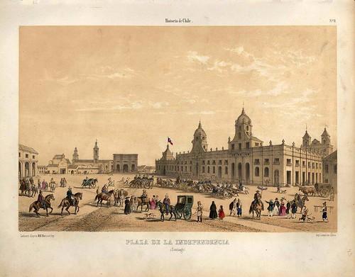 013-Plaza de la Independencia Santiago de Chile-Atlas de la historia física y política de Chile-1854-Claudio Gay