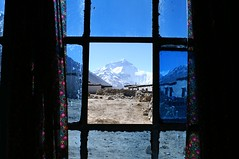 Mount Everest from monastery window