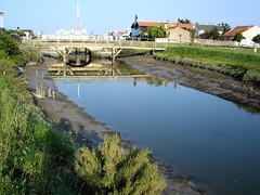 Far from the bridge (cyann90) Tags: bridge france reflection water river sony cybershot reflet pont reflexions noirmoutier vendée passerelle réflexion francelandscapes