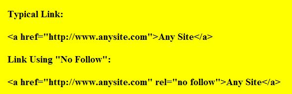 Example of using the REL=No Follow Tag in outbound links