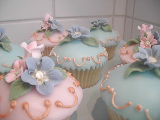 Cupcakes with sugar flowers close up