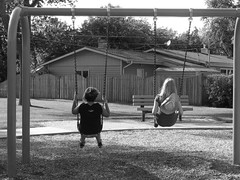 friends [day 19/365] () Tags: park friends bw swings 365days 10secondtimer