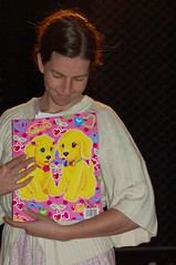 """hey rosie! can you hold that lisa frank folder thing?"""