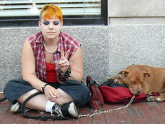 Peace - The girl with the orange hair and one of her dogs in Harvard Square (eileansiar - l'arbre qui pleure) Tags: street leica city cambridge girls portrait urban orange woman usa dog chien pet color college dogs girl animal youth america puppy square ma lumix us mutt peace chica candid massachusetts satire harvard protest young streetphotography eu streetscene smoking panasonic perro american irony harvardsquare bonita belle pooch resistance estadosunidos 02138 estados jeune eeuu muchacha unidos etatsunis wihite baystate lamerique dmcfz50 eileansiar