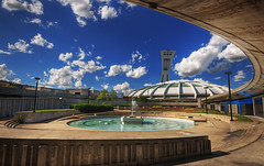 Olympic Stadium Fountain on a beautiful summer afternoon | Montreal, Canada | davidgiralphoto.com (David Giral | davidgiralphoto.com) Tags: blue sky urban canada fountain skyline garden cloudy quebec stadium montreal jardin sigma olympic 1020mm fontaine hdr stade olympique sigma1020mm 14mm sigma1020 5xp tthdr copyrightdgiral davidgiral