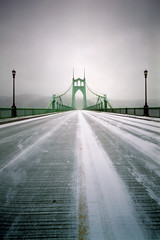St Johns Bridge, 8 seconds (Zeb Andrews) Tags: city bridge winter urban snow storm green film ice oregon portland cityscape gothic pinhole blizzard zeroimage stjohnsbridge pinscape zero69 bluemooncamera fujipro800z zebandrews ithinkthiswasatshirtsweaterfleecetypeofday zebandrewsphotography