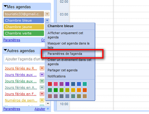 Google Agenda parametres