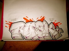 Rusko MCK JSU (El Funky Taladro) Tags: santa county orange white black paper graffiti ana sketch purple arrow ruche lined jsu erok knd rusko mewt