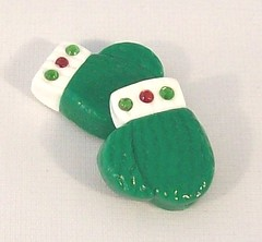 Mitten Beads Handcrafted from Polyme Clay (BarbiesBest) Tags: christmas winter red white holiday cold green necklace beads snowman jewelry holly bracelet earrings mittens