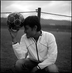 Zwan (-nasruddinmukhtar-) Tags: portrait blackandwhite bw 120 6x6 film monochrome japan analog zeiss ball mediumformat square t football kodak tmax soccer center hasselblad carl 500c service mf 100 analogue gifu f28 zwan planar nagaragawa 80mm kaizu   hazwan nasruddin nasruddinmukhtar gifutaikai2010