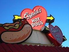 Cupid's Hot Dog Sign (Hagoody) Tags: california blue red sign yellow restaurant stand hotdog losangeles heart fastfood arrow sanfernandovalley eatery tarzana cupidshotdogs
