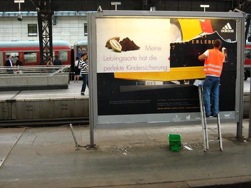 Advertising at the Koln train station, Germany
