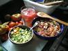 Thursday lunch (horsepj) Tags: food lunch rice tea cucumber tomatoes mint indiana sage watermelon garlic basil heirloom vinegar onion organic lime bloomington zucchini oliveoil cilantro thyme habanero sunsugar