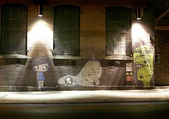 Street art after dark, Williamsburg Brooklyn - by Luke Redmond