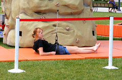 Hanging on.... (FrogBum) Tags: feet beach girl michigan redhead climbingtower metroparks huronclintonmetroparks harrisontwp metrobeachpark