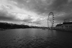 Thames Wide-angle (jessnphoto) Tags: uk england bw london thames canon river outside outdoors blackwhite unitedkingdom bridges londoneye wideangle southbank riverthames openair londonist canon400d