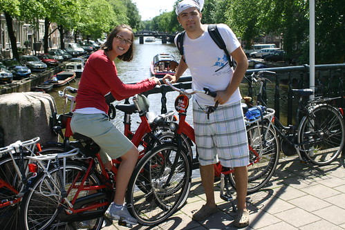 Nathan and Rachel on Bikes in Amsterdam