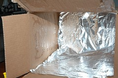 diy softbox - gluing the aluminum foil