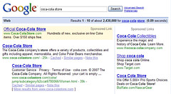 Coca-Cola Store in Google SERPs