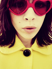 Koko (L caitlin) Tags: red me girl sunglasses yellow self purple button loveheart