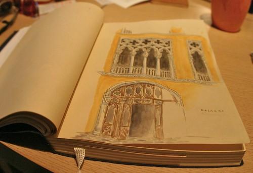 watercolor of venician palazzo