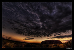Sunrise (ronaldwidha) Tags: nature silhouette rock clouds sunrise desert dramatic wideangle fisheye uluru hdr excapture diamondexcapture